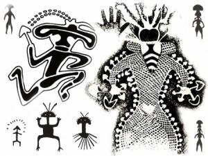 Reproducción de las pinturas rupestres de Tassili N'Ajjer, se observan las típicas formas de los hongos psicocibes.